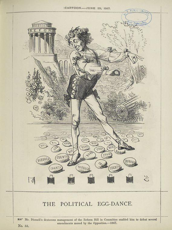 «Политический танец яиц в исполнении Бенджамина Дизраэли», 1867. <br>