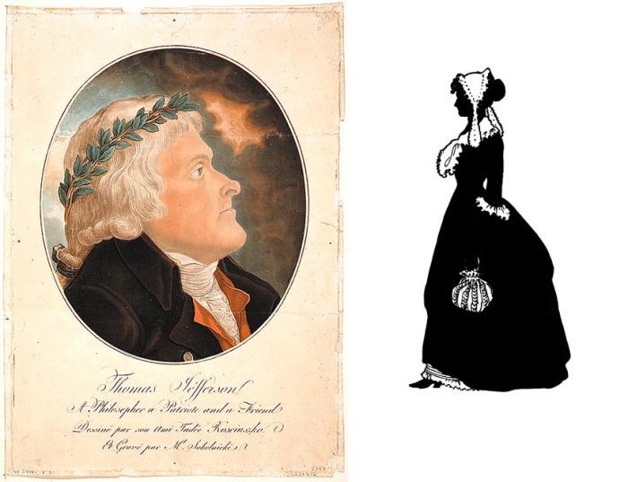 Портрет 3-го президента США, выполненный художником Тадеушем Костюшко, и примерное изображение Салли. Портреты женщины-рабыни до наших дней не сохранились.